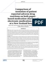 Comparison of Documentation of Patient Reported Adverse Drug Reactions on Both Paper-based Medication Charts and Electronic Medication Charts at a New Zealand Hospital
