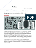 Language, Customs and Cultural Diversity