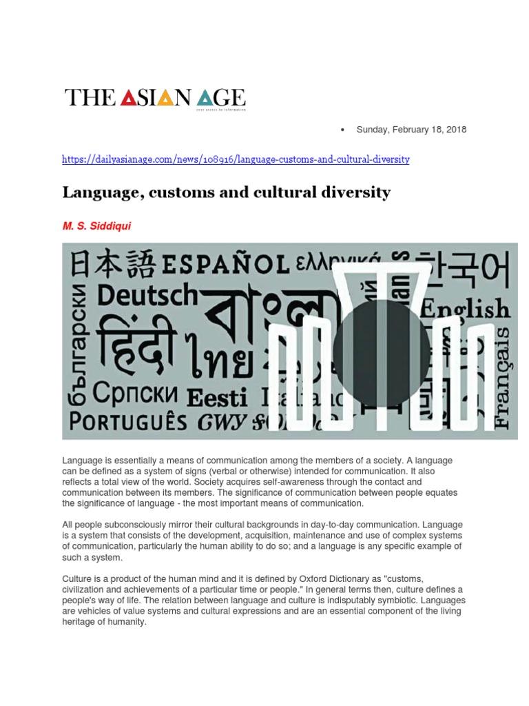 language, customs and cultural diversity | cultural diversity