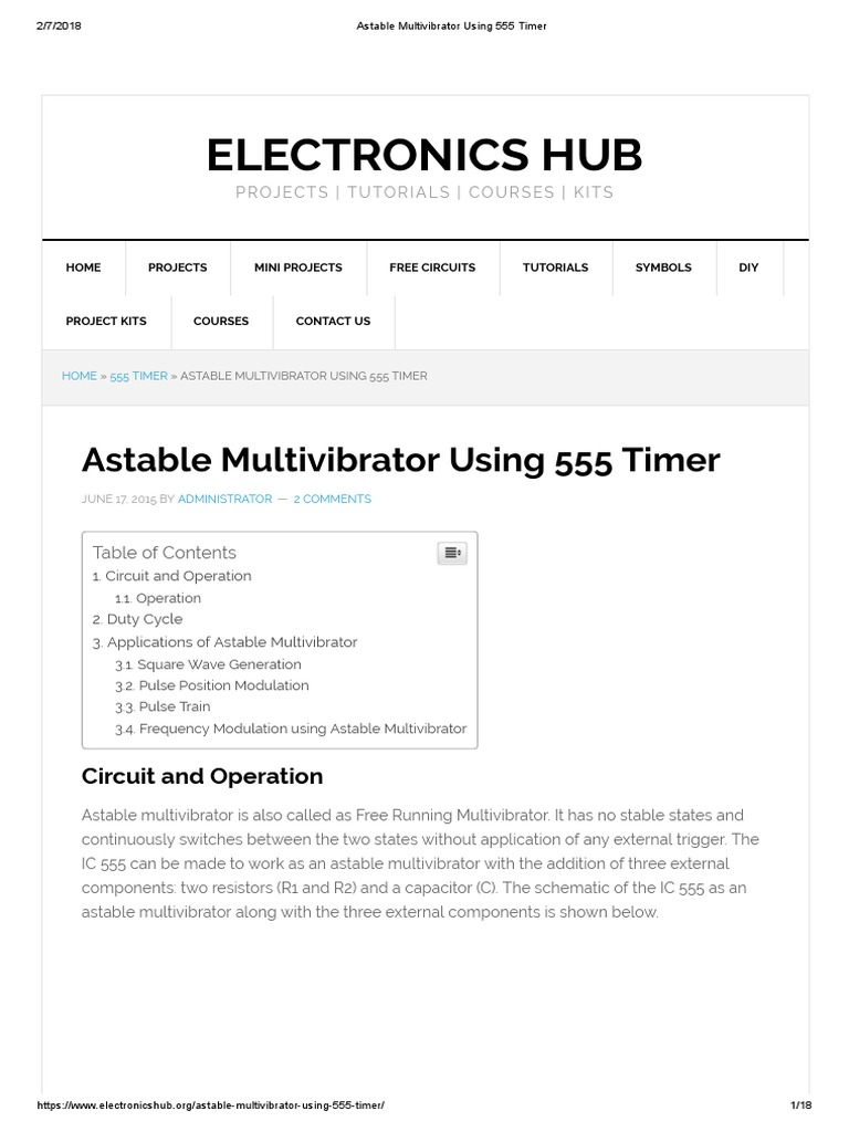 Astable Multivibrator Using 555 Timer Digital Electronics Touch Switch Monostable With Ic Electronic Design