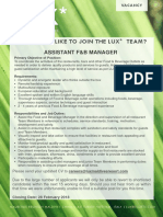 Assistant f&b Manager
