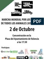 Cartel Marcha Mundial Derechos Animales 2010 Valencia