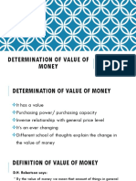 Determination of Value of Money