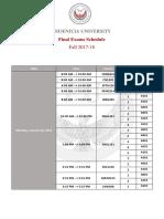Final Exams Schedule - Fall 2017-18