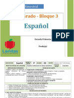 Plan 5to Grado - Bloque 3 Español