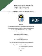 La Autoestima y Su Incidencia en El Rendimiento Academico de Los Estudiantes Del Sexto Grado de Primaria...