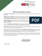 Certificate of Conformance IMAL LTD
