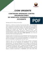 ACCION UEGENTE - Amenaza Ong Valle