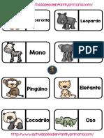 Colección de Fichas Para Jugar Al Domió de Animales