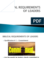 Biblical Requirements of Leaders