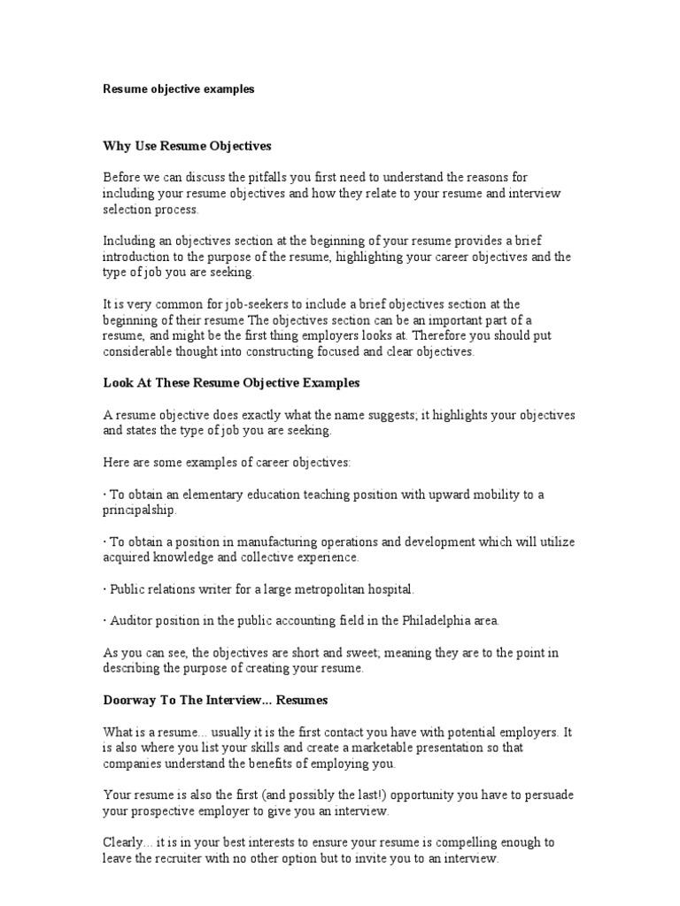 Resume Objective Examples   Résumé   Recruitment