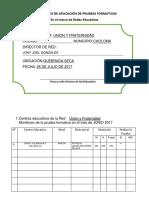 Diagnostico de Aplicación de Pruebas Formativas Por Redes Julio