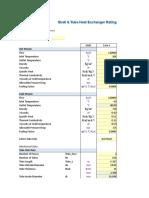 Heat Exchanger Rating Calc Sheet