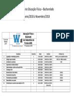 Calendário Educação Física Bacharel - Turma I - Janeiro a Novembro 2018 (2)