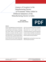2016 Performance of Acquirer in the Manufacturing Sector Analysis of Economic Value Added in Different Industries of the Manufacturing Sector in India