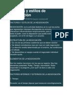 Factores y Estilos de Negociaciòn