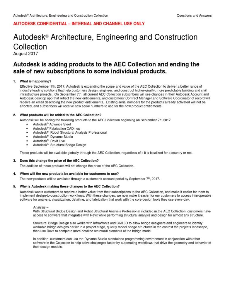AEC Collection Expansion FAQ | Autodesk | Subscription