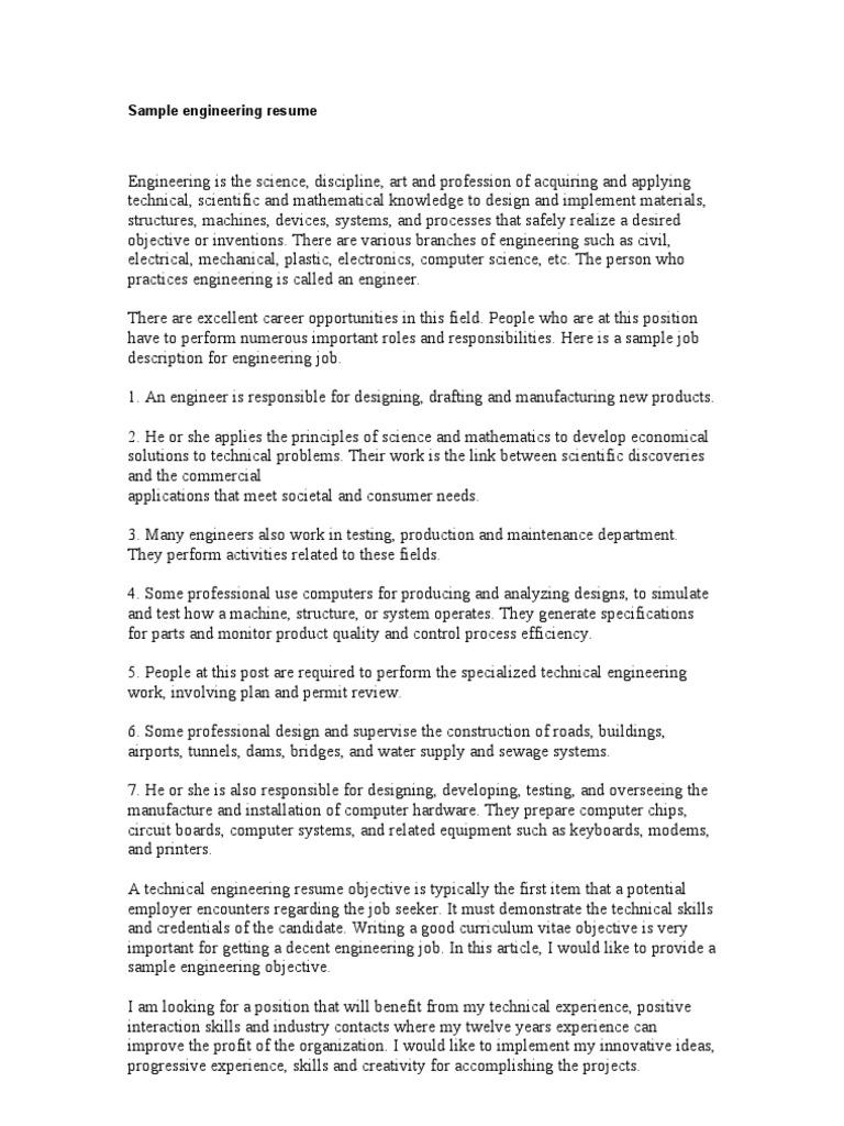 Sample Engineering Resume   Résumé   Engineer