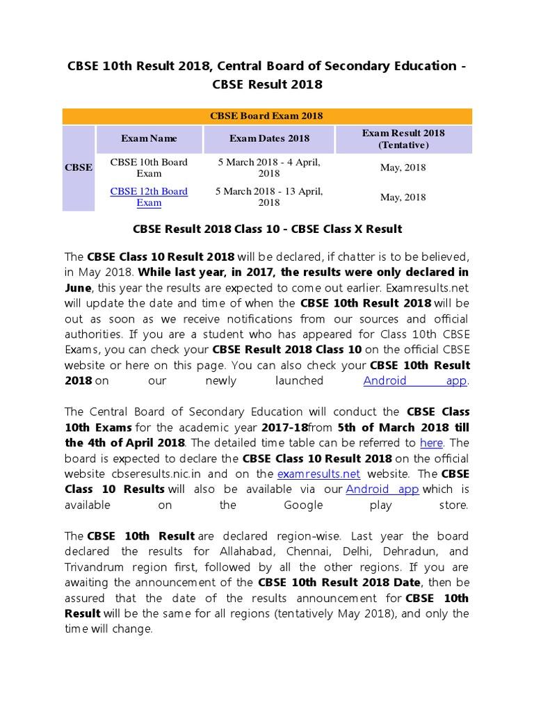 CBSE 10th Result 2018, CBSE Result 2018, cbseresults nic in