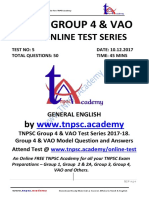TNPSC Group 4 VAO- Test 5 - GENERAL English-Question & Answer