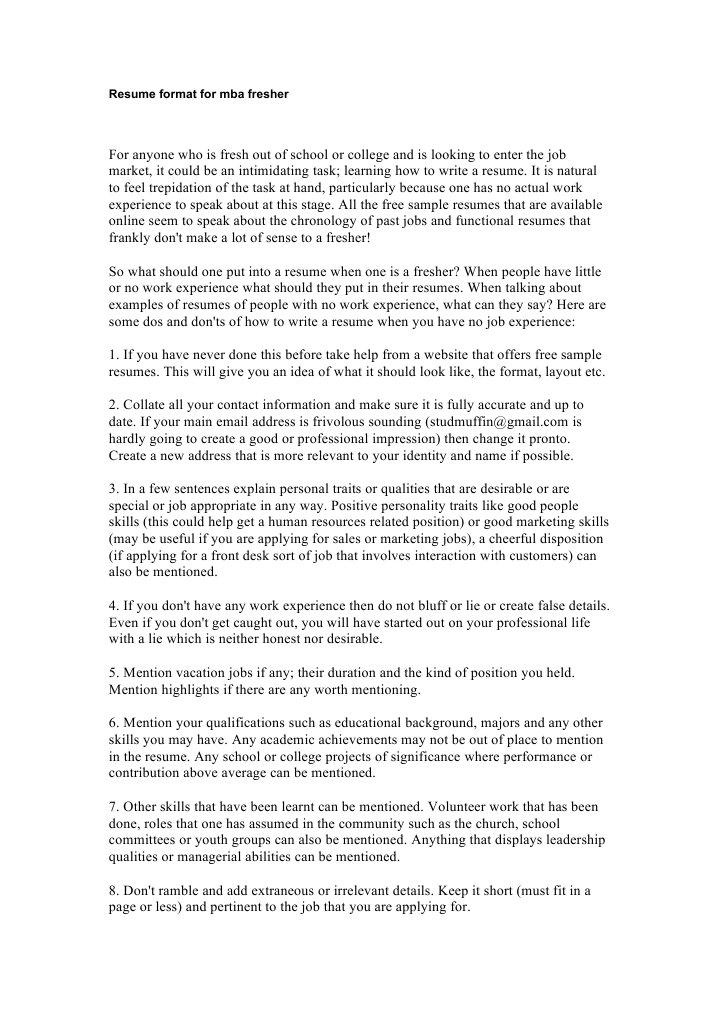 Resume Format for Mba Fresher Rsum Psychology Cognitive Science