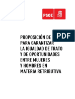 PL del PSOE sobre Igualdad Retributiva