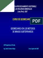 Geomecánica en Los Métodos de Minado Subterráneos