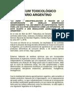 Vademécum Toxicológico Alimentario Argentino