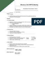 4th HRPTA Meeting- Minutes SY 2014-2015