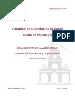 Guia Docente 319163001 - Intervencion Psicosocial y Organizacional - Curso 1718