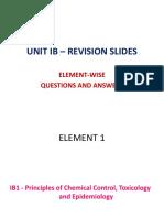 Unit Ib – Element-wise Questions Revision Slides