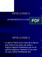 Optica Física e Interferencias Luminosas