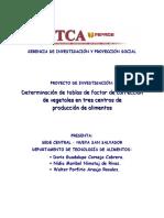 Determinación de tablas de factor de corrección de vegetales en tres centros de producción de alimentos