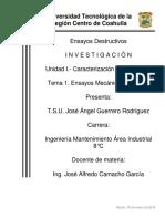 Unidad 1. Caraterización de Materiales Tema 1. Ensayos Mecánicos Estáticos