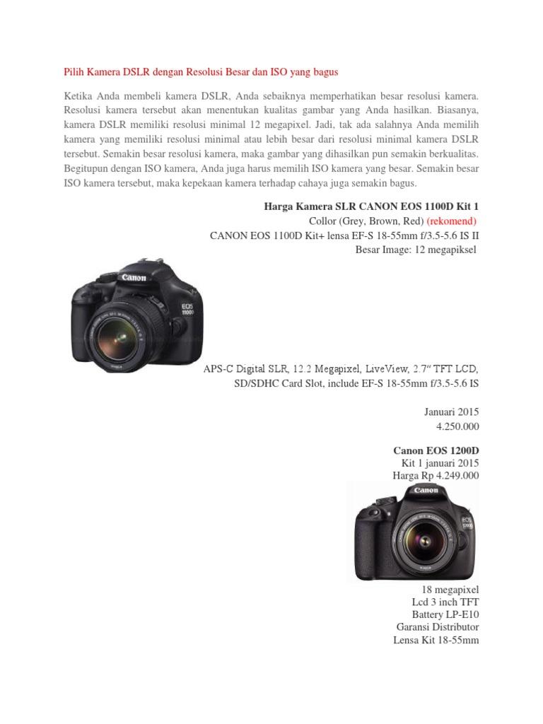Dslr Canon Eos 1200d Lensa 18 55mm Kamera Kit
