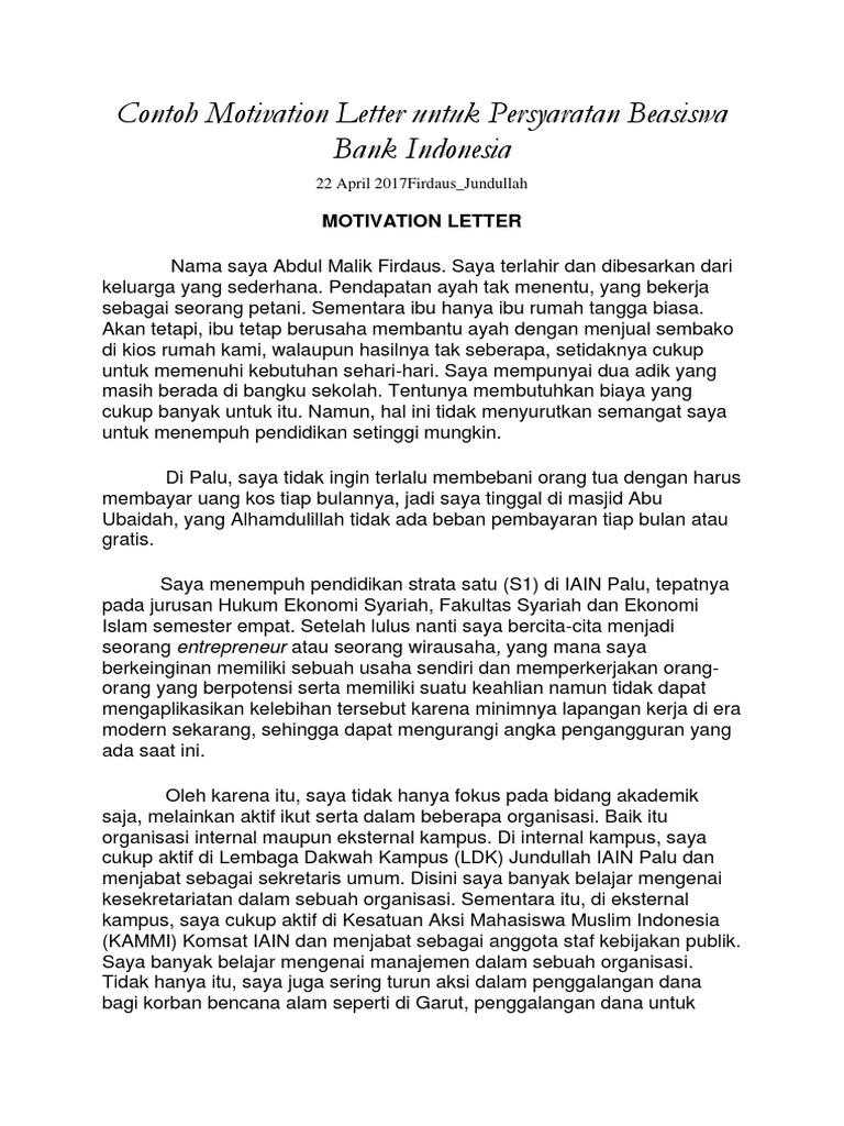 Contoh Motivation Letter Untuk Persyaratan Beasiswa Bank