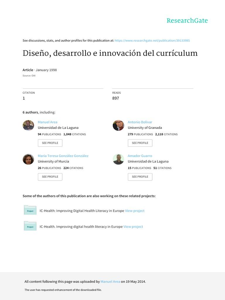 Diseno Desarrollo e Innovacion Del Curriculum