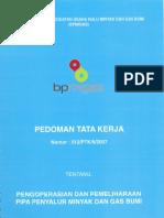 3 PTK 012 2007 Pengoperasian Dan Pemeliharaan Pipa Penyalur MIGAS