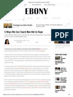 5 Ways We Can Teach Men Not to Rape - EBONY