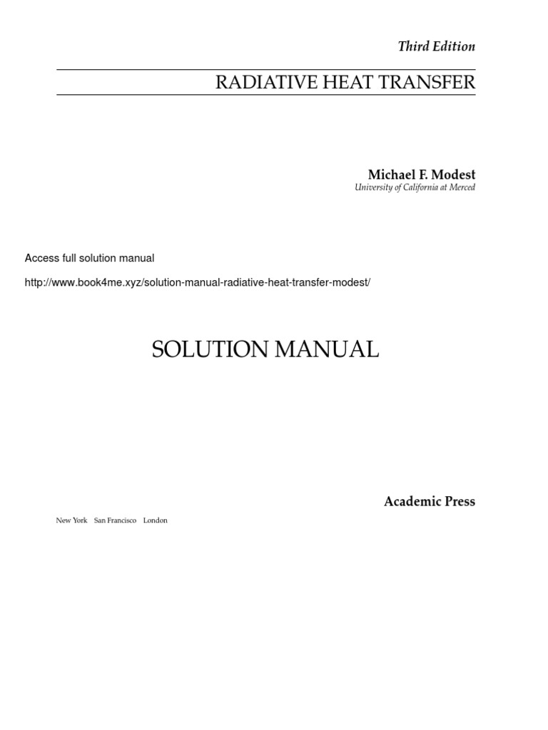 Solution Manual for Radiative Heat Transfer – Michael Modest.pdf | Software  | Redes sociales y digitales