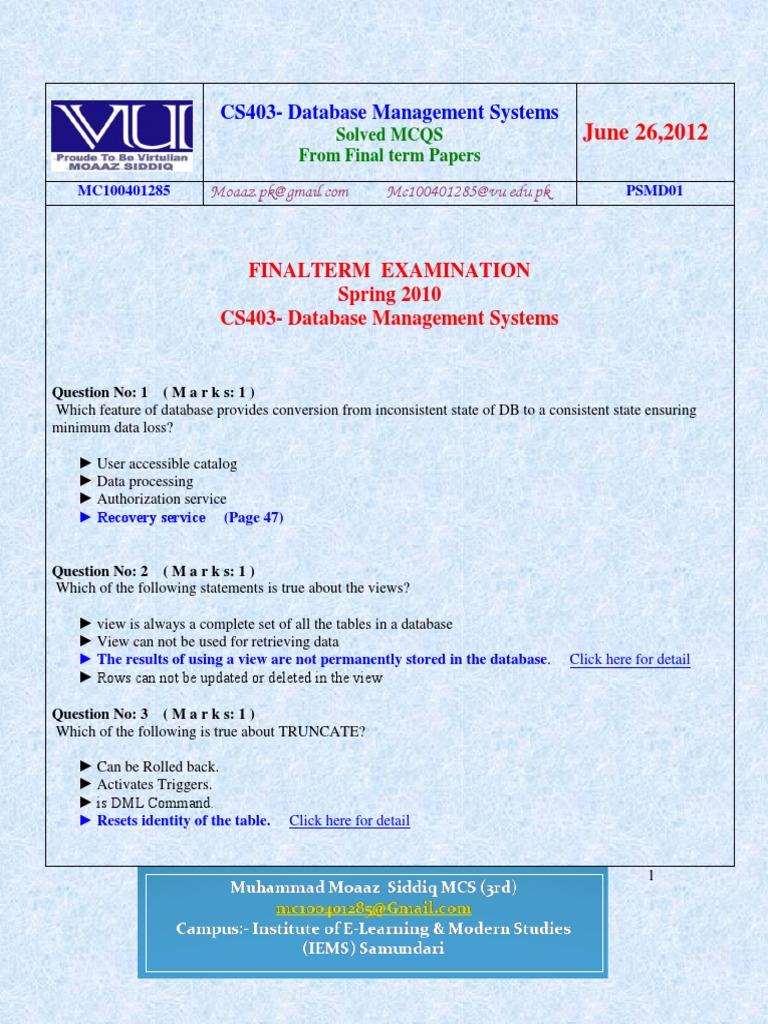 cs403 final term paper pattern