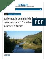 """Ambiente, le condizioni del Foglia sono """"mediocri"""". """"La soluzione è nei contratti di Fiume"""" - Il Ducato del 19 febbraio 2018"""