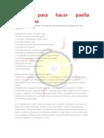 Receta Paella Escuela de Arroces y Paellas Castellano