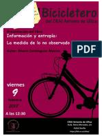 """En el Bicicletero del CRAI... presentación del libro """"Información y entropía"""
