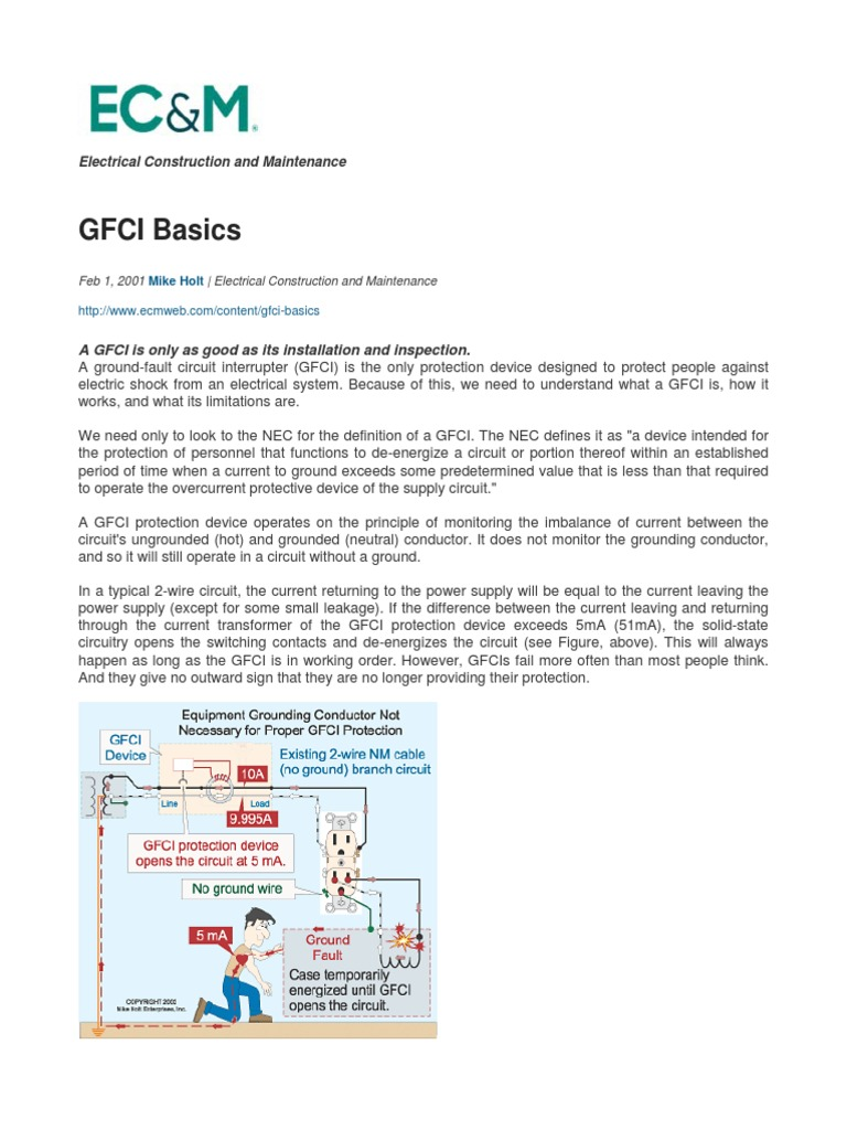 Ground Fault Circuit Interrupter  Gfci  Basics