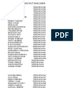 List of 2nd Year Cadets and 1st Yr