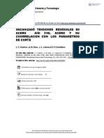 MECANIZADO Tensiones Residuales en AISI 316L ACERO y Su Correlación Con Los Parámetros de Corte