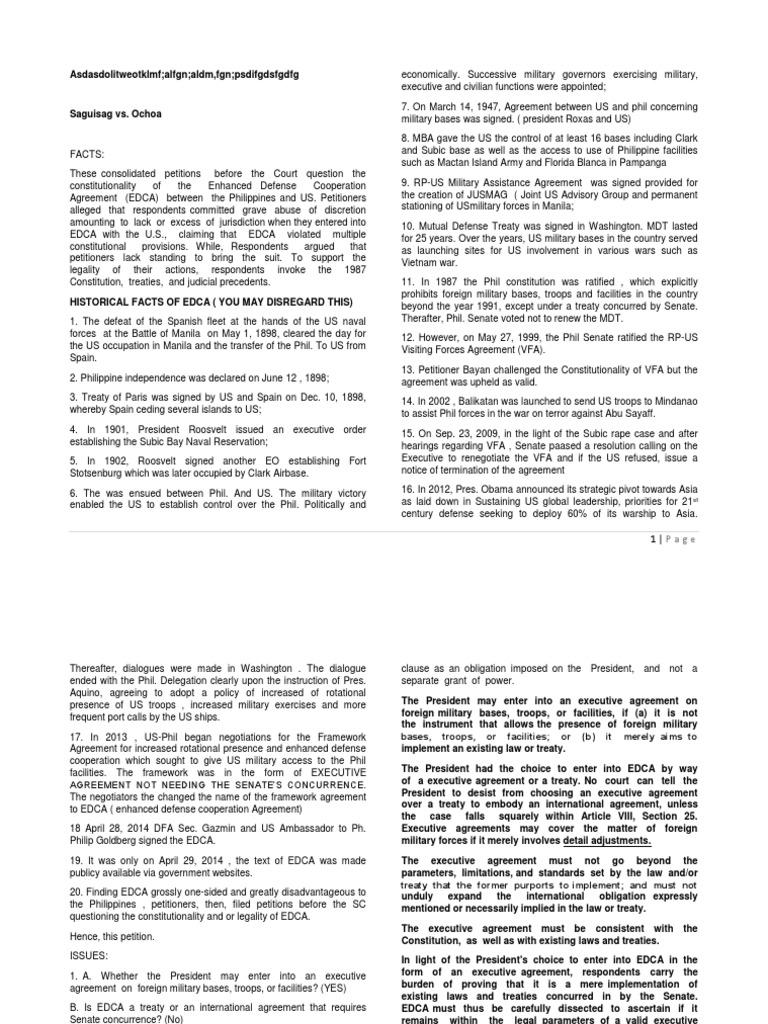 Saguisag Vs Ochoa Digested Case Treaty Constitution