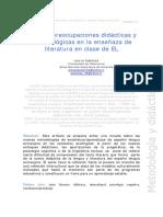 Algunas Preocupaciones Didácticas y Metodologicas en La Ensenanza de Literatura en Clase de ELE ESPAÑA