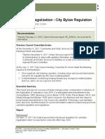 Cannabis Legalization - City Bylaw Regulation